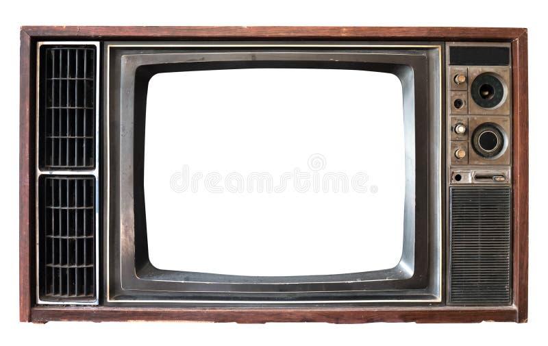 Gammal TV med ramskärmisolaten på vit arkivbild