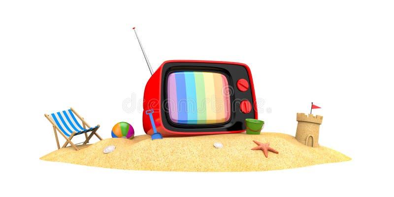Gammal TV på en sandig strand vektor illustrationer