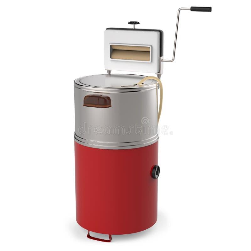 Gammal tvagningmaskin som isoleras på vit arkivfoto