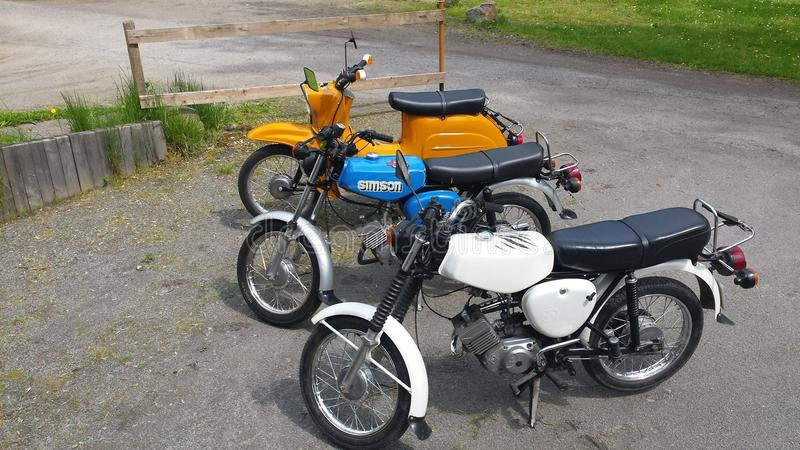 gammal tysk sparkcykel arkivbilder