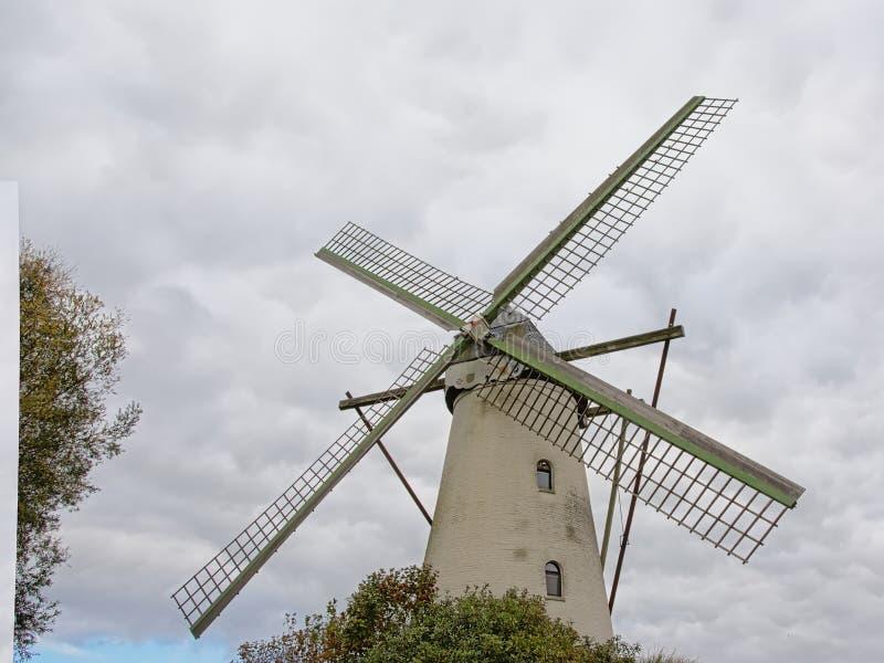 Gammal väderkvarn på en clloudy himmel i den flemish bygden arkivfoto