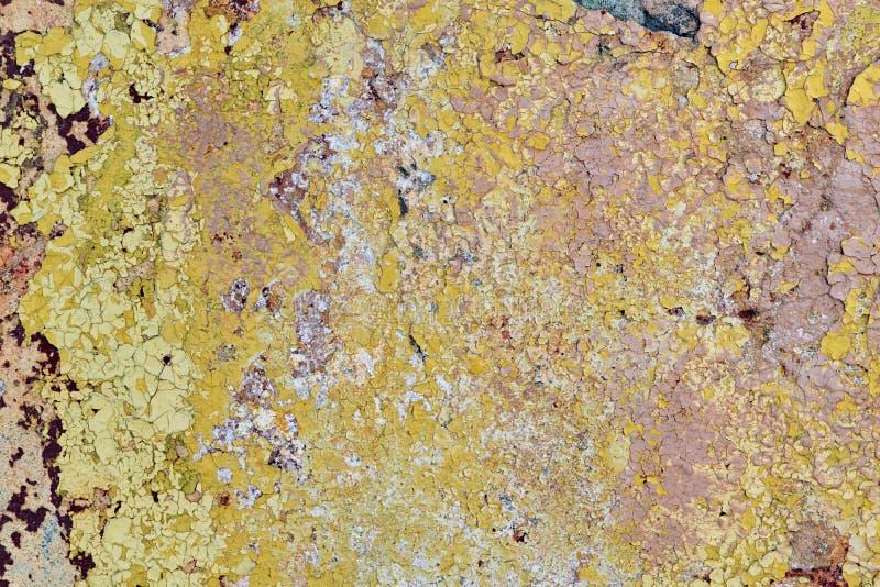 Gammal vägg med att falla av målarfärg och murbruk Några sprickor arkivbilder