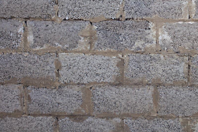 Gammal vägg som göras av utvidgade lerakvarter för bakgrund och design royaltyfri fotografi
