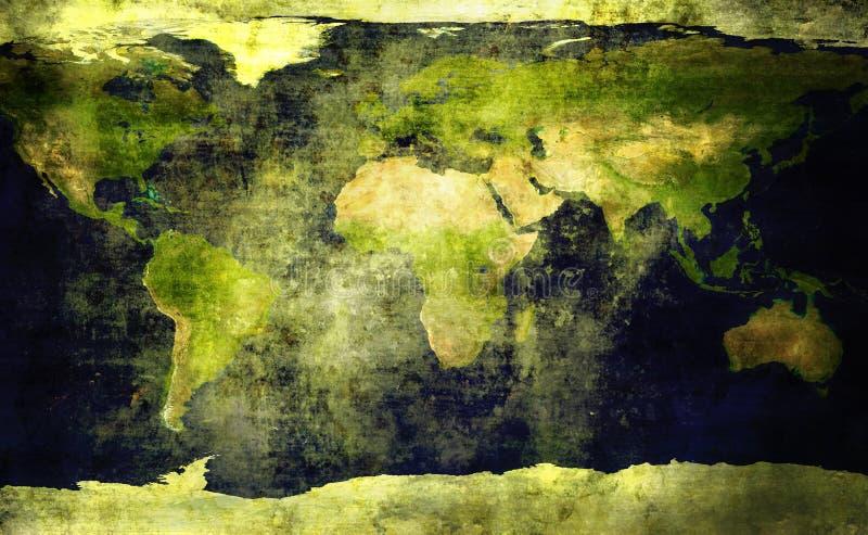 gammal värld för grungeöversikt stock illustrationer