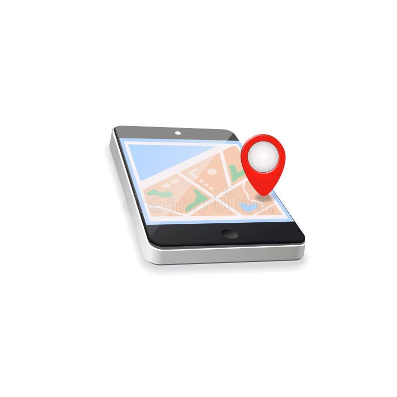 gammal värld för illustrationöversikt GPS navigering Mobilen ringer royaltyfri illustrationer