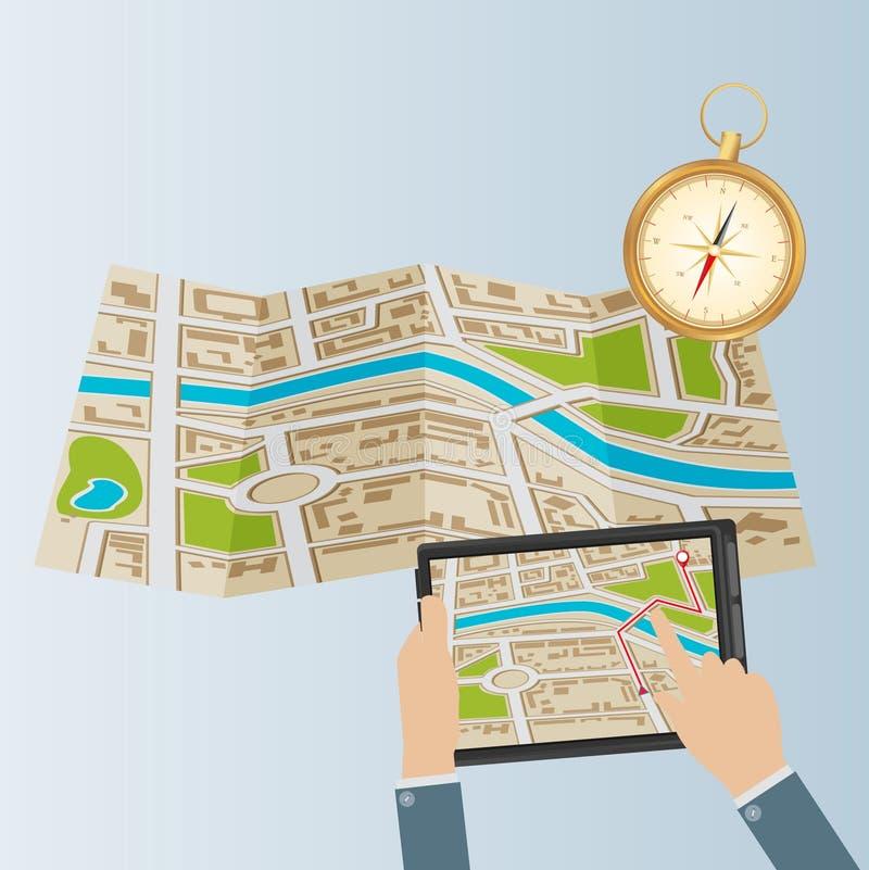 gammal värld för illustrationöversikt Mobil GPS-navigering mobil PCtelefontablet vektor illustrationer