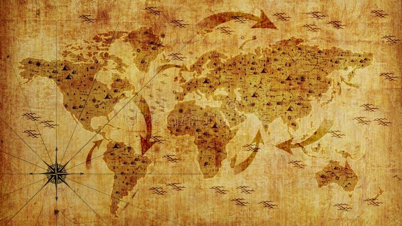 Gammal världskarta, med pilar och lättnad Fototapet illustration 3d royaltyfria bilder
