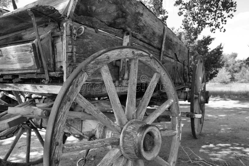 Gammal västra hästdragen vagn arkivbilder