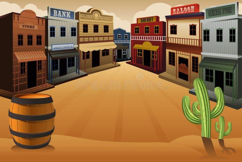 Gammal västra stad stock illustrationer