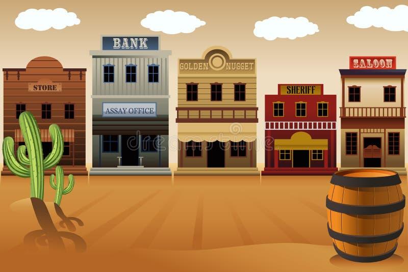 Gammal västra stad royaltyfri illustrationer