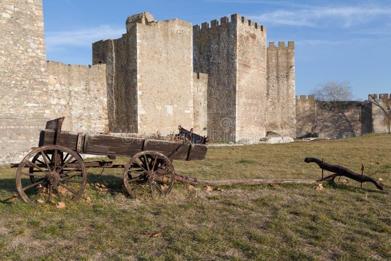 Gammal vagn och fästning royaltyfri foto
