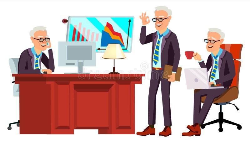 Gammal vektor för kontorsarbetare Framsidasinnesrörelser, olika gester Affärsman Worker lyckligt jobb Partner kontorist, tjänare vektor illustrationer