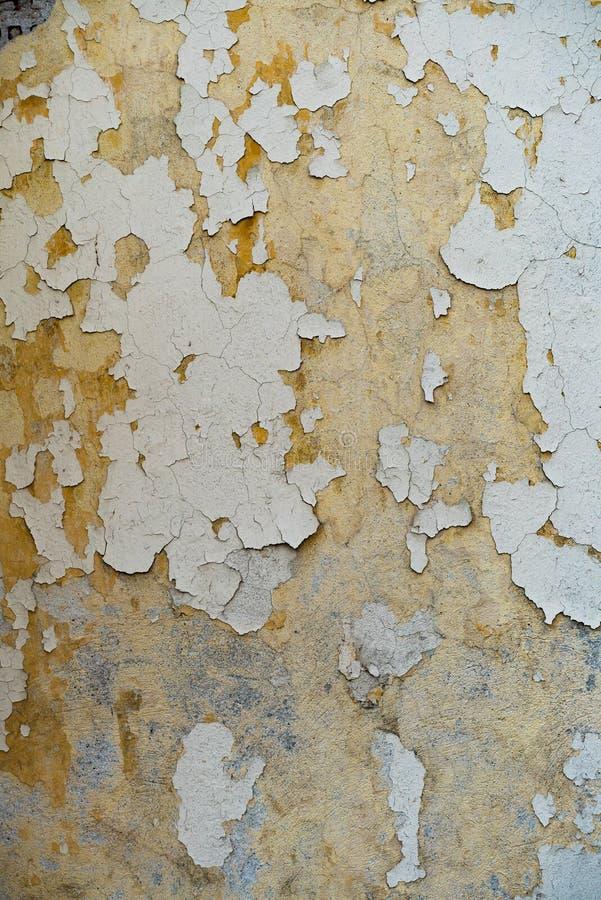 Gammal verklig målarfärg för vägggrungetextur, guling tonar arkivfoto