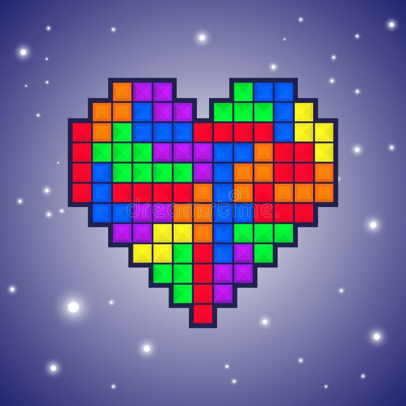 Gammal videospeldesign för hjärta vektor illustrationer