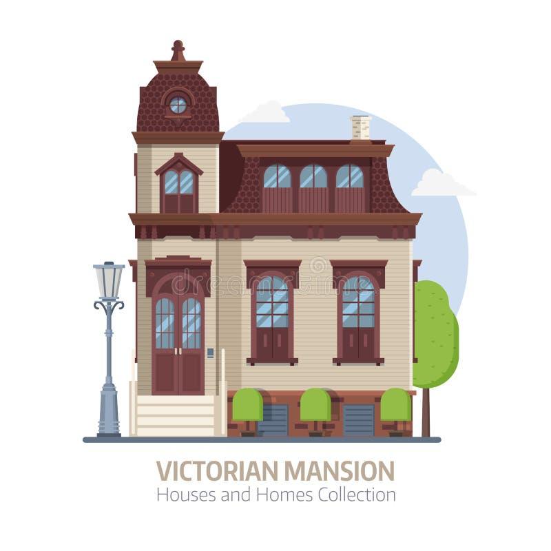 Gammal viktoriansk herrgårdbyggnad royaltyfri illustrationer