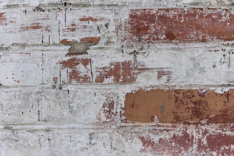 Gammal vit skapade ungefärligt tegelstenväggen målade upp vit murbruk, slut, kopieringsutrymme royaltyfria foton