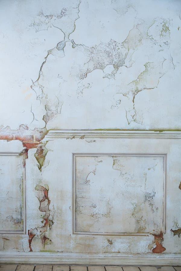 Gammal vit tappningväggcraquelure royaltyfria bilder