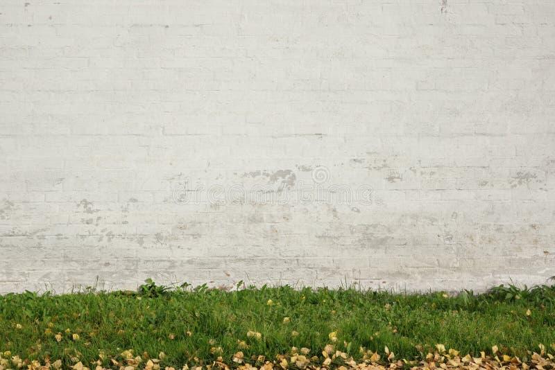 Gammal vit tegelsten målad vägg Abd Green Grass Background royaltyfria bilder