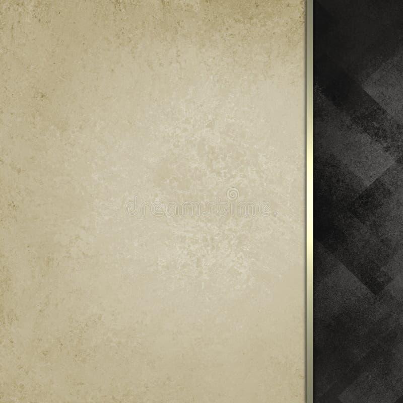 Gammal vitbok med guld- bandklippning och den svart mönstrade svarta sidofältet stock illustrationer