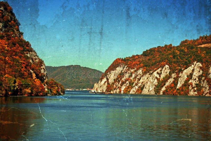 Gammal vykort med landskap i Donauklyftorna, Rumänien royaltyfria foton