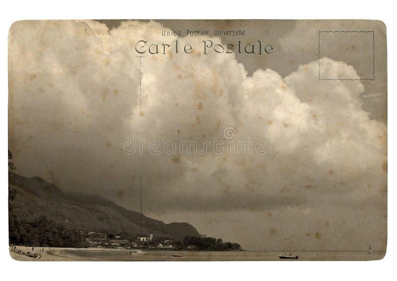 gammal vykort tropiska seychelles för liggande vektor illustrationer
