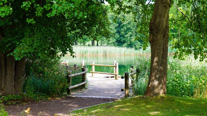 Gammal wood bro till sjön arkivfoton