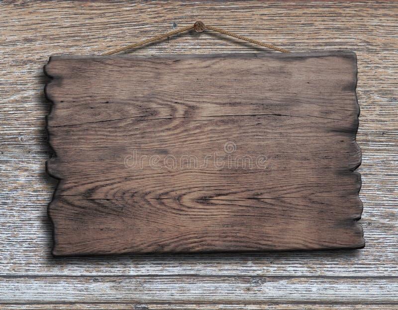 Gammal wood planka eller platta som hänger på timmerplanka arkivfoto