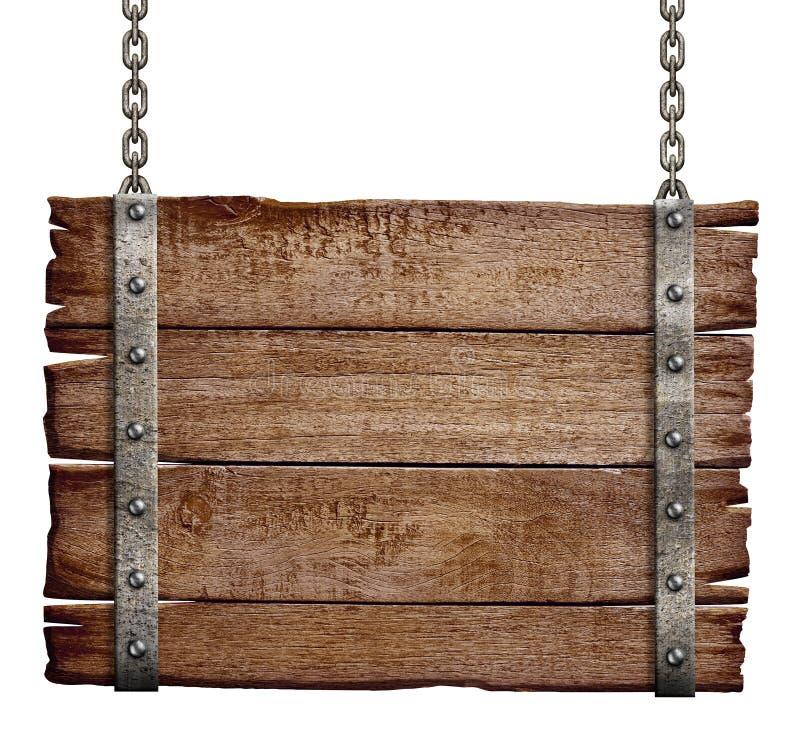 Gammal wood skylt som hänger på kedja royaltyfri foto