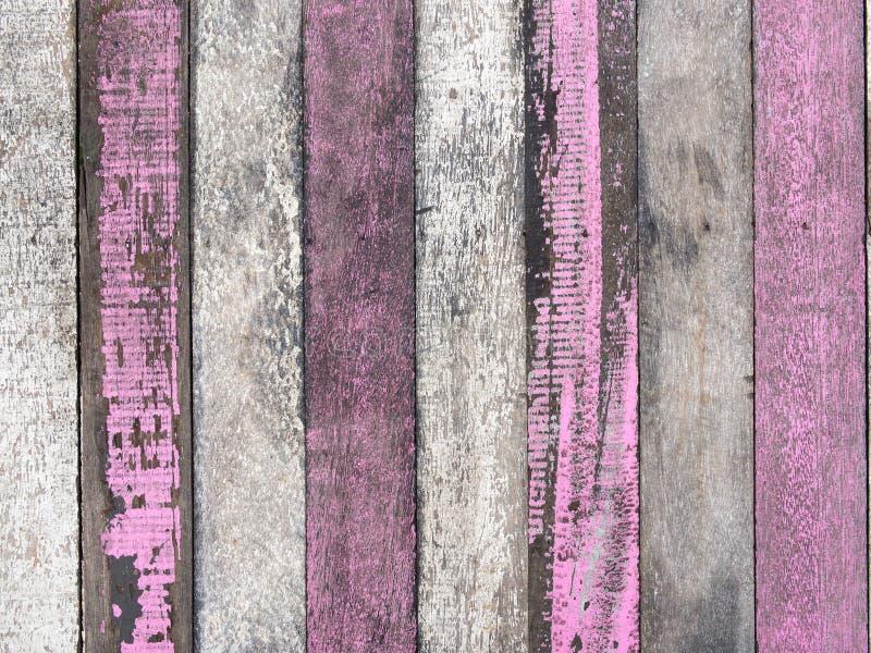 Gammal wood textur för vit och för rosa färger royaltyfri bild