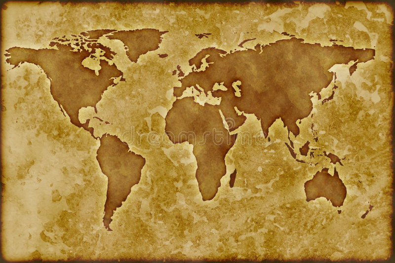 gammal worldmap royaltyfri illustrationer