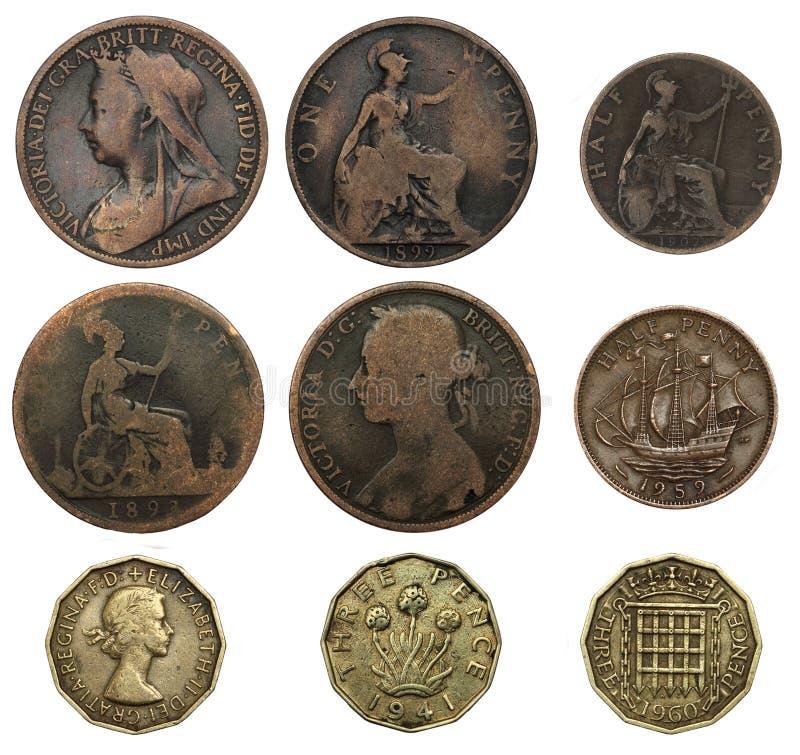 gammala brittiska mynt royaltyfria bilder