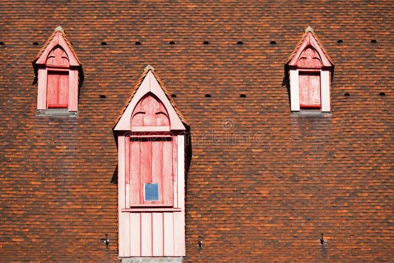 Gammala dormers på ett gammalt taklägger royaltyfri fotografi