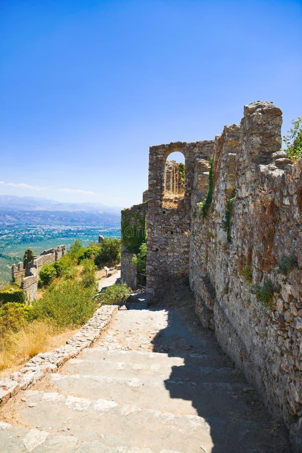gammala greece mystras fördärvar townen royaltyfria foton