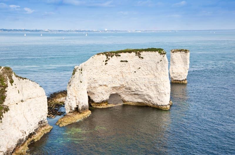 Gammala Harry vaggar Jurassic seglar utmed kusten UNESCO royaltyfria bilder