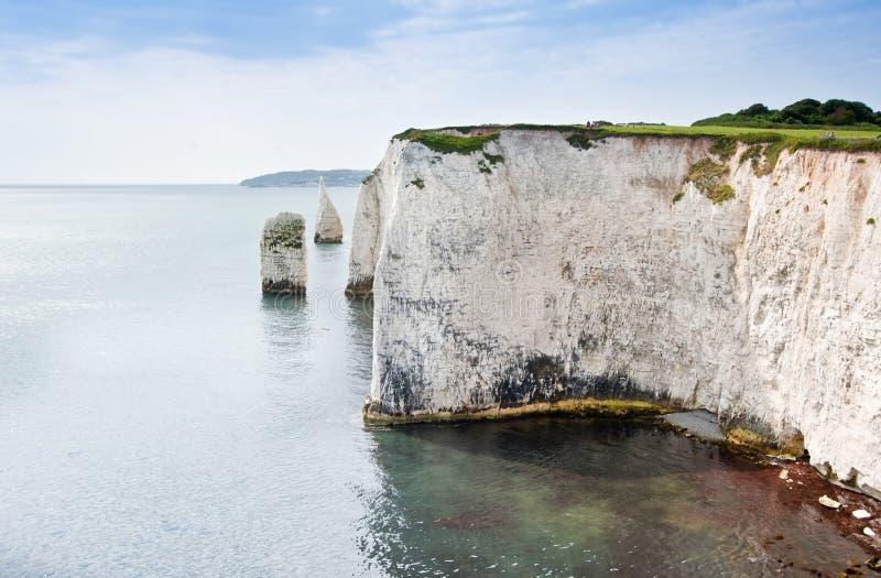 Gammala Harry vaggar Jurassic seglar utmed kusten UNESCO England royaltyfri fotografi