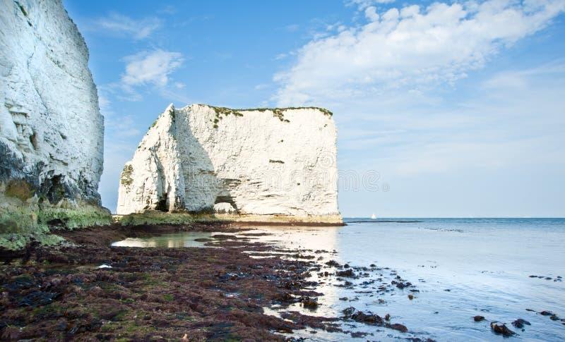 Gammala Harry vaggar Jurassic seglar utmed kusten UNESCO England royaltyfri bild