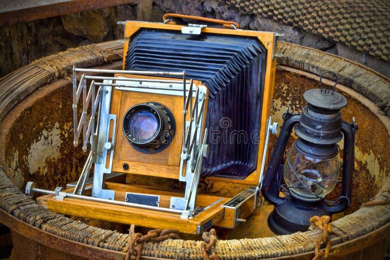 gammala kamerastort festtält royaltyfria foton