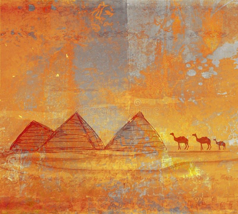 gammala paper pyramider stock illustrationer