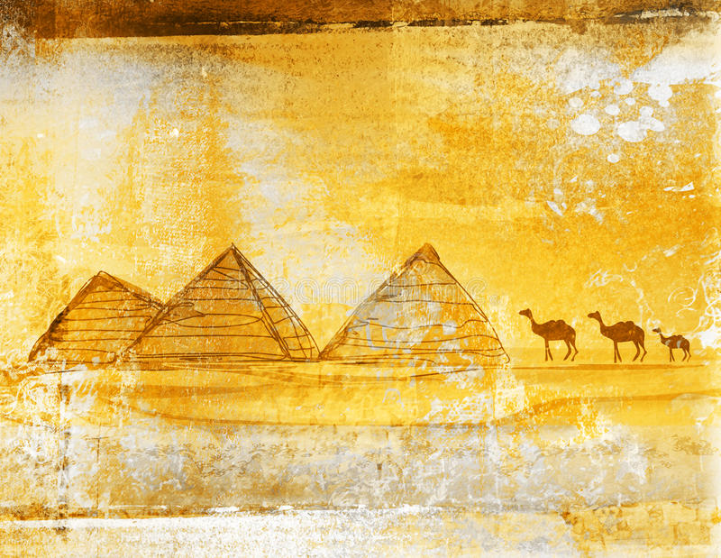 gammala paper pyramider royaltyfri illustrationer