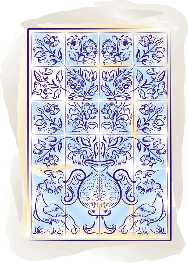 gammala portugisiska tegelplattor för bakgrundsfärg stock illustrationer