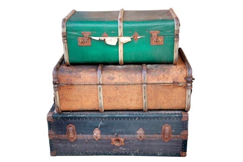 gammala resväskor royaltyfria bilder