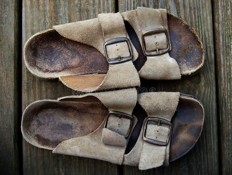 gammala sandals royaltyfri fotografi