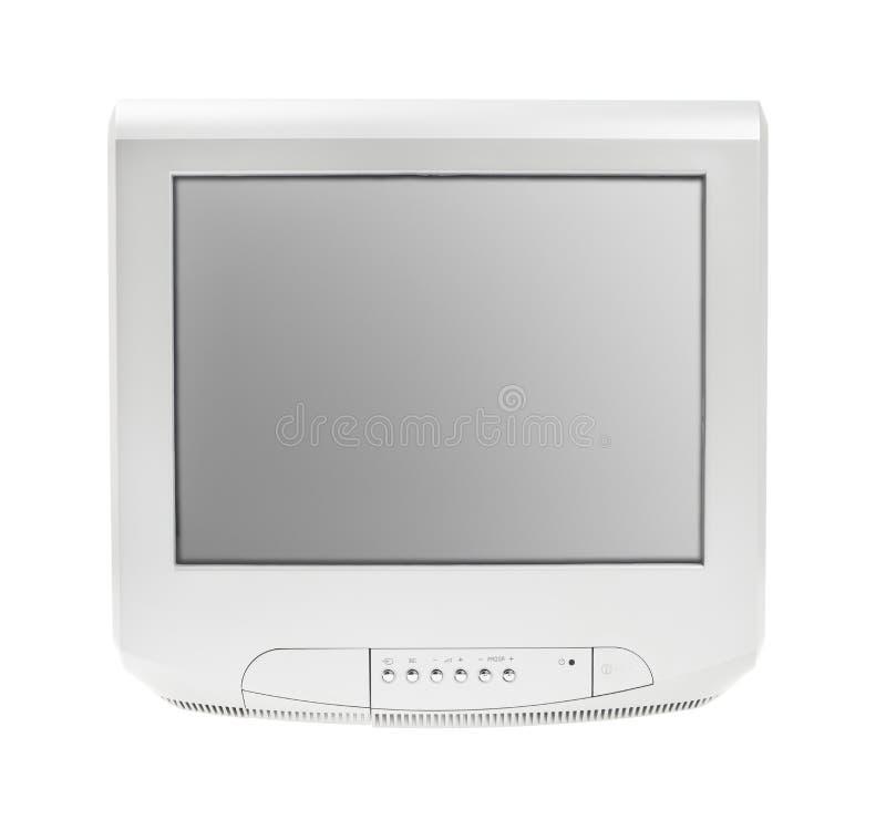 Gammala television- eller tvgrå färg avskärmer skärm isolerad vitbakgrund arkivbild