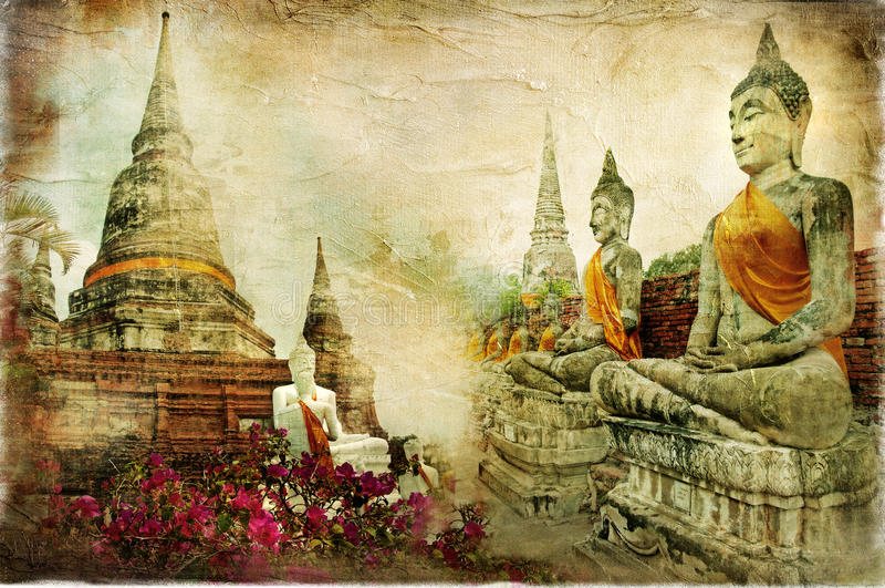 gammala thailand royaltyfri illustrationer