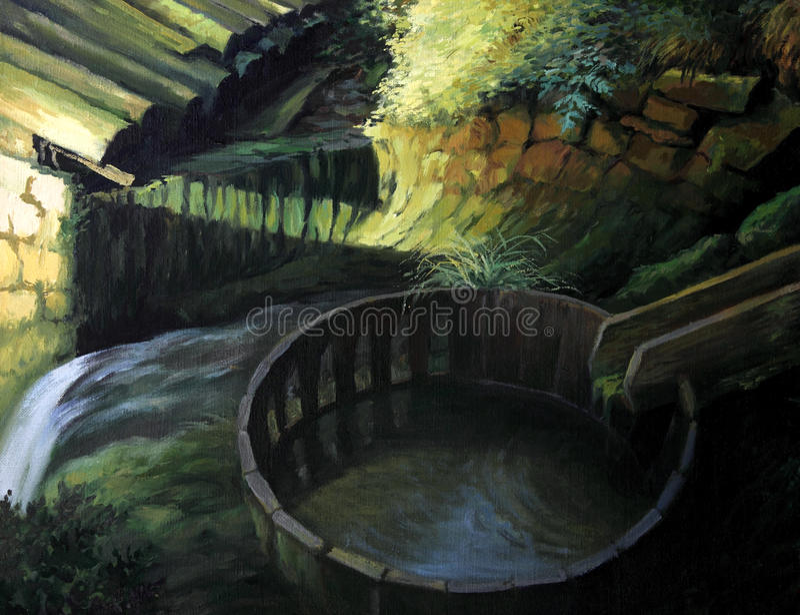 Gammala Watermill royaltyfri illustrationer
