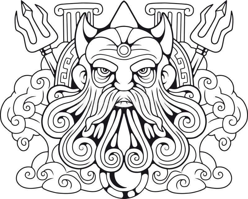 Gammalgrekiskagud Poseidon, Herre av haven royaltyfri illustrationer