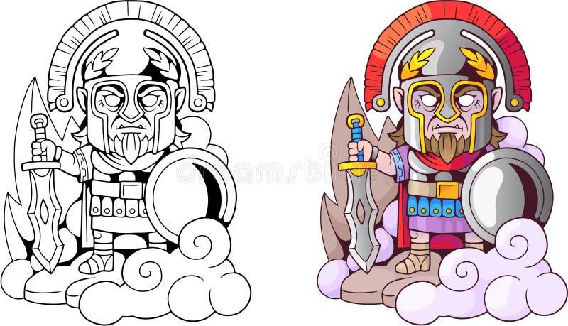 Gammalgrekiskagudares med svärdet i handen, rolig illustrationfärgläggningbok royaltyfri illustrationer