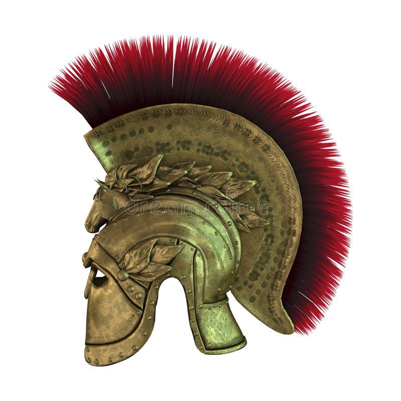 gammalgrekiskahjälm för tolkning 3D på vit royaltyfri illustrationer