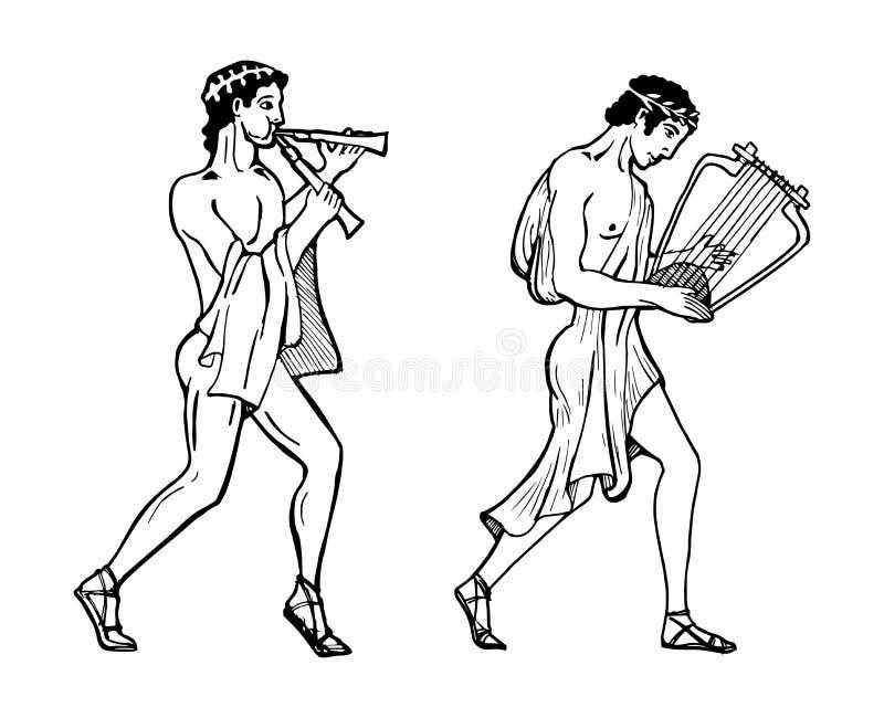 Gammalgrekiskamusiker vektor illustrationer