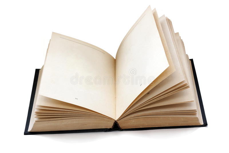 Gammalmodig öppen bok med tomma sidor som isoleras med skuggor royaltyfri foto